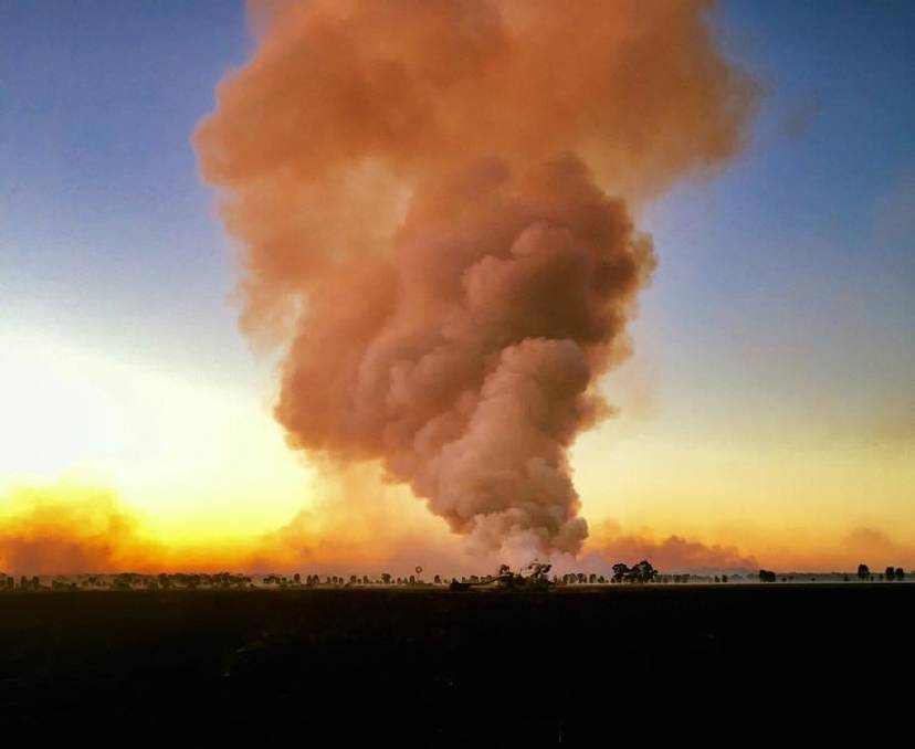 A stubble burn in the Lachlan Shire, photo by Cameron Bird, Rural Fire Service.