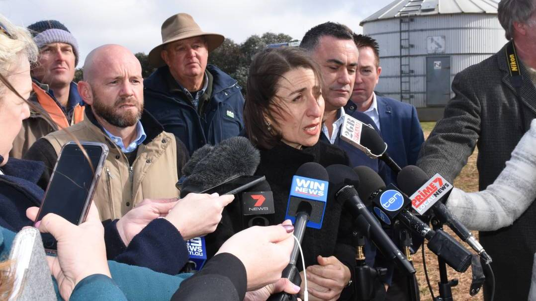 NSW Premier Gladys Berejiklian at her recent announcement of the NSW Government's $500 million Emergency Drought Relief Package at a Bathurst region farm. Photo: NADINE MORTON 073018nmdrought1